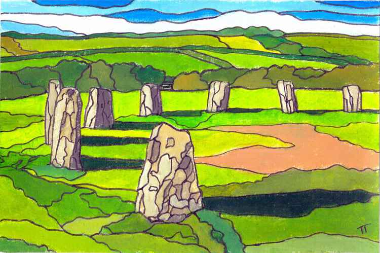 The Merry Maidens stone circle, Lamorna. -