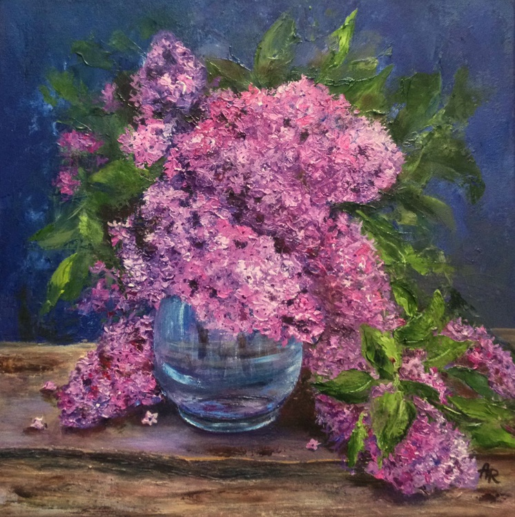 Lilac in a blue vase - Image 0