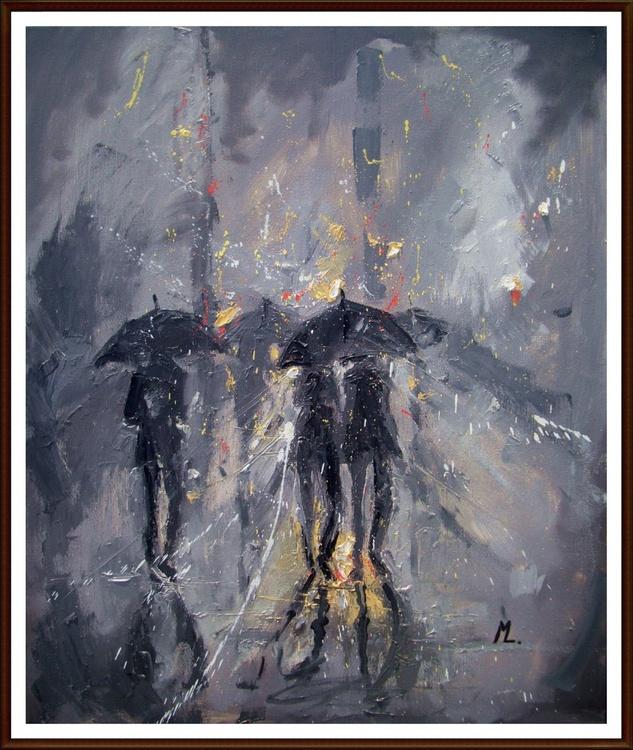 """"""" NIGHT LIHGT'S """" original painting CITY STREET RAIN - Image 0"""