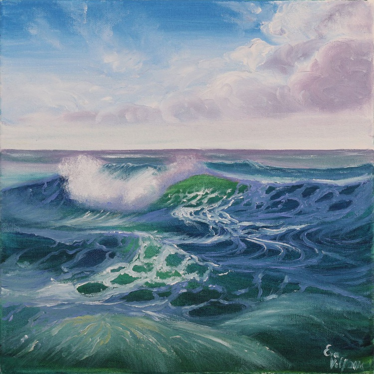 "Ocean Waves XII 12x12"" small seascape oil painting on canvas - Image 0"