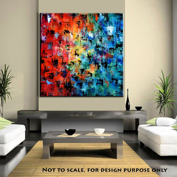 """""""Froot Loops"""" 48"""" Large Abstract Colorful Art Painting, Colorful Original Contemporary modern Blues,Reds, Oranges, Gold, Pallete Knife - Image 0"""