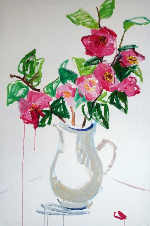 Camellia in the white jug  #2 - Image 0
