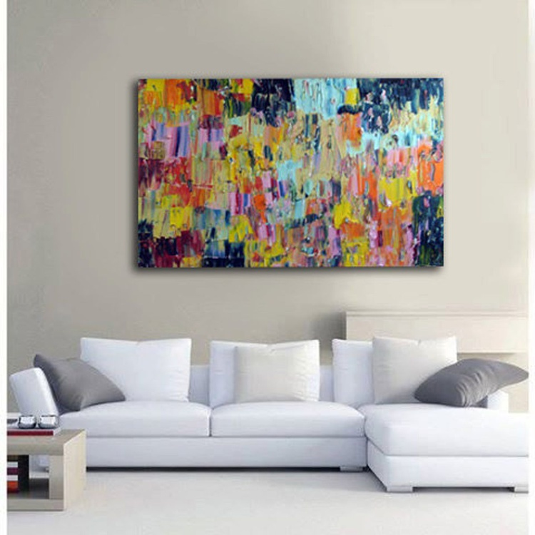 "Original Large Abstract Modern Art Oil Painting Palette knife - 24''x36"" Michel Campeau - Image 0"