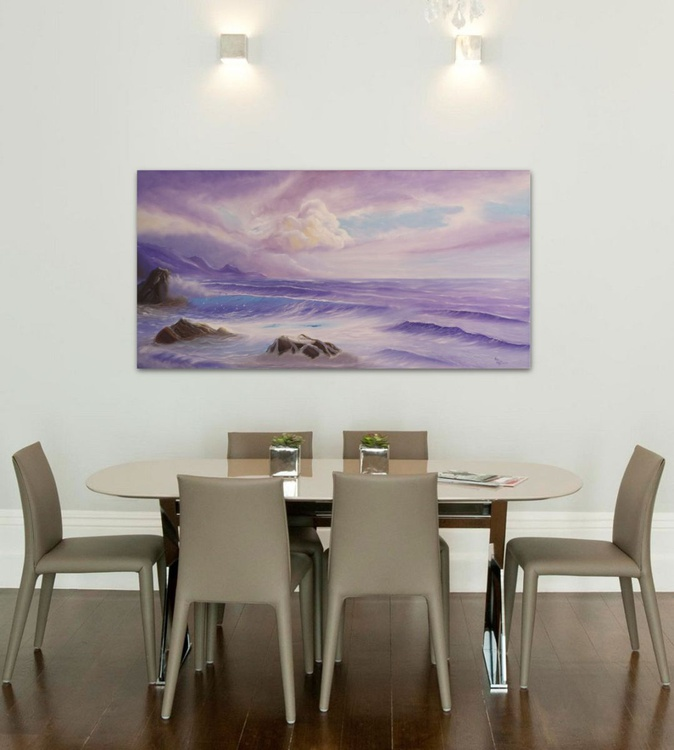 Surrender to Love, Large Seascape Oil Painting on Canvas, XL Ocean Art, Lavender Ocean Waves Painting - Image 0