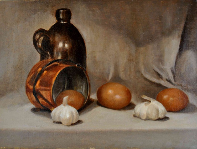Still life with eggs and garlic - Image 0