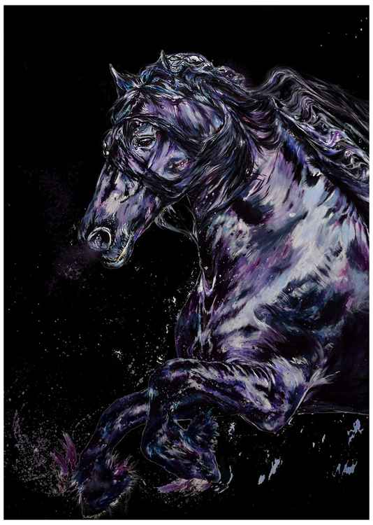 "Friesian / 23"" x 16.5"" Limited Edition Digital Print / Office Home Equine Modern -"