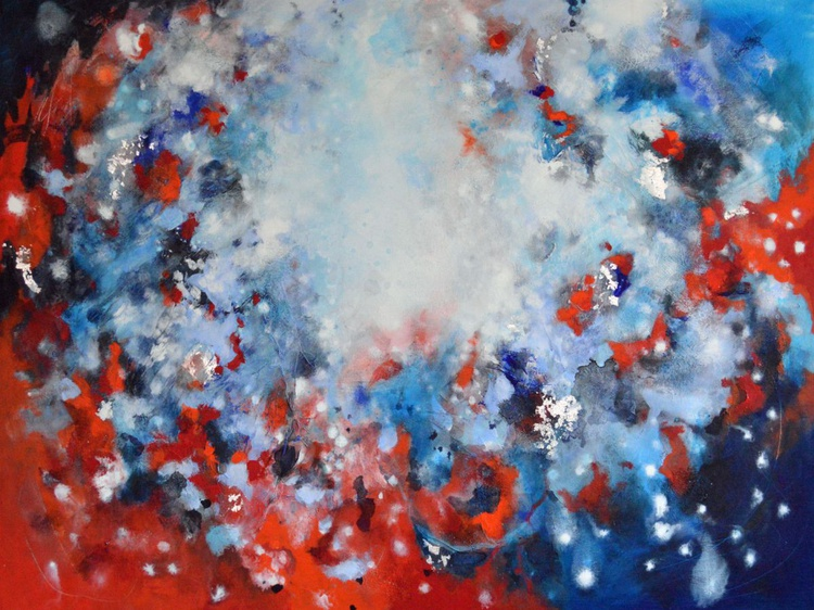 Unspoken Promises - Large Red and Blue Abstract Painting - Image 0