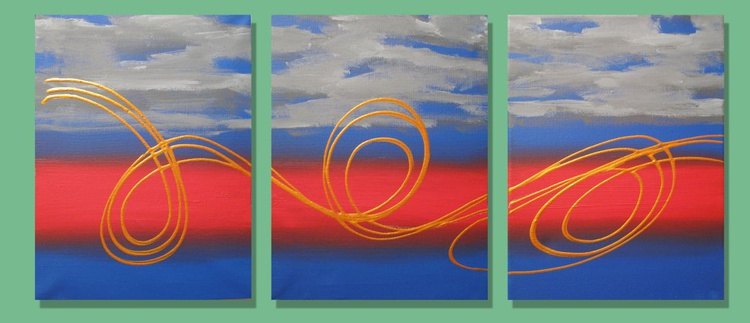 triptych abstract original abstract painting art canvas - 27 x 12  inches - Image 0