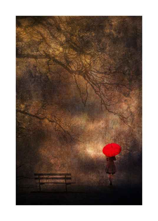Girl with red brolly -