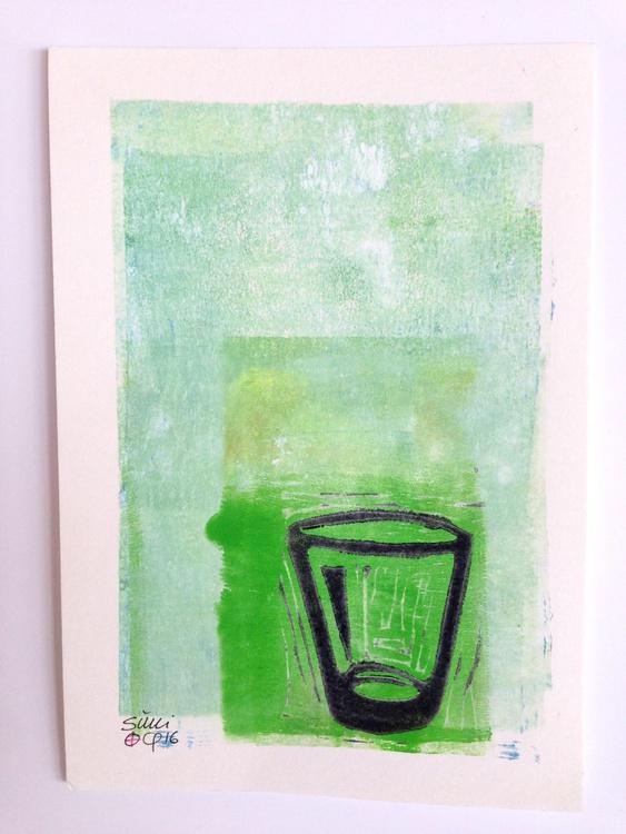"Series ""LittleKitchenArt"": Glass With Green - Image 0"