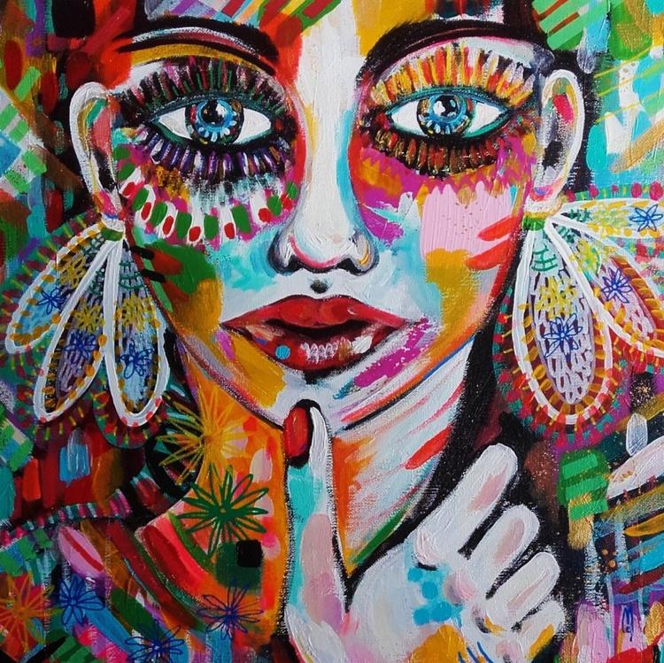 Woman Portrait - Face Canvas - Céline Marcoz Art Portrait - Image 0