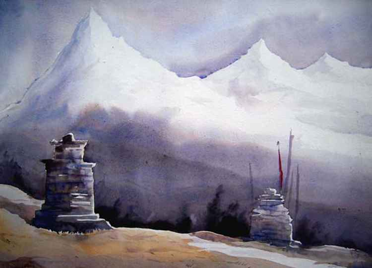 Mystery Himalayan Peaks - Watercolor on Paper -