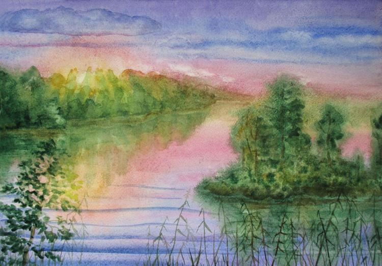 Near the river - watercolor landscape - Image 0