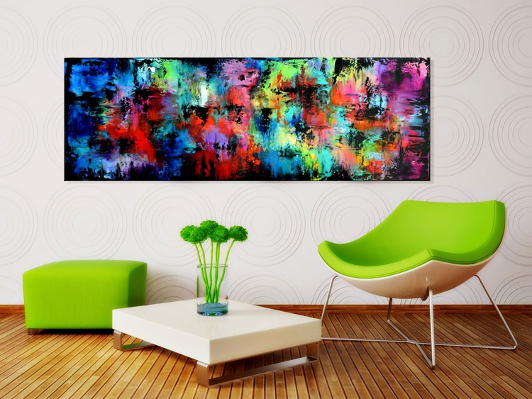 "Color Symphony #2-60"" Large Abstract Painting, Original Large Colorful Modern Acrylic Palette Knife Painting on Canvas, red art, purple art, blue art - Image 0"