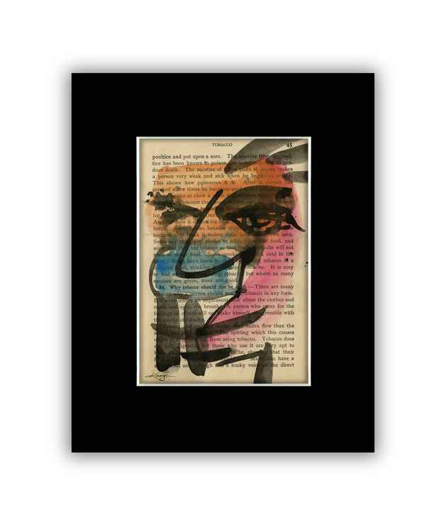 """I See 6"" on Antique Book Page - Abstract Watercolor Painting -"