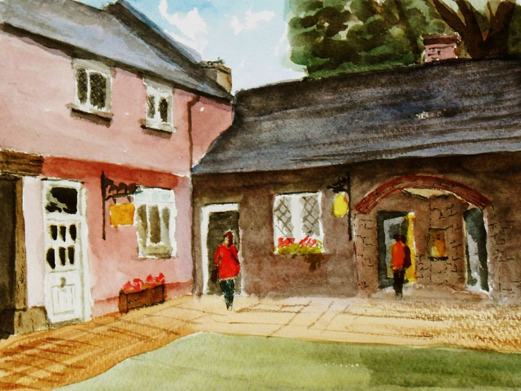 Old Country House Stables, an original watercolour painting of a colourful scene. - Image 0