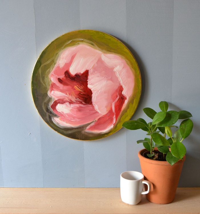 Round Pink Peony Flower Oil Painting on  Fine Italian Canvas Frame - Image 0