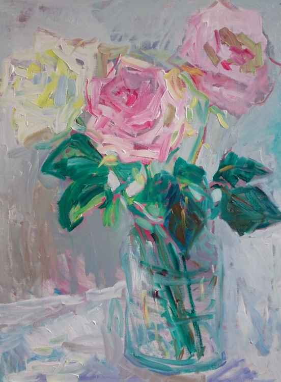 Roses in the glass vase -