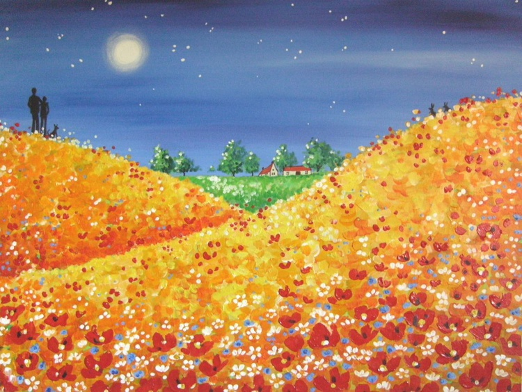 Moonlight walk amongst the poppies - Image 0