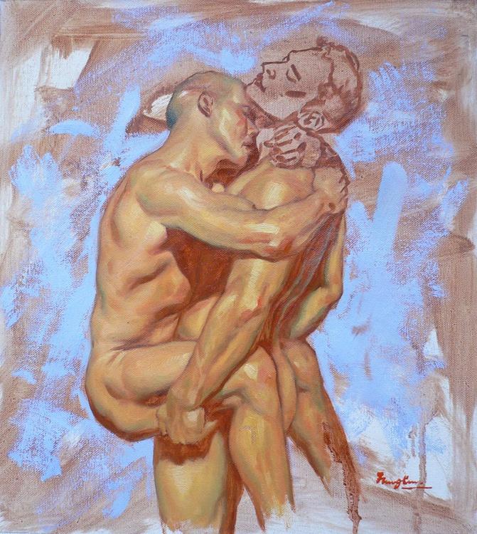 original oil painting art male nude gay interest men on linen #16-2-19 - Image 0