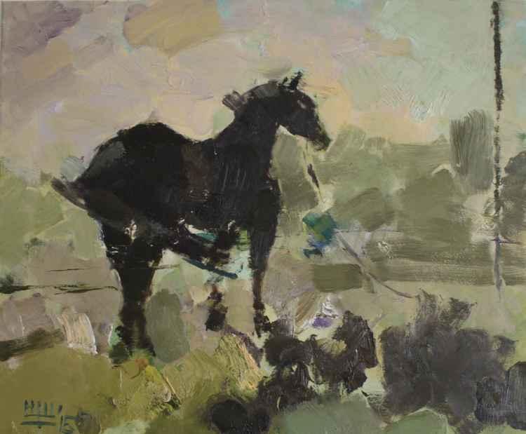 """Etude with a horse"" Oil on canvas. 40/50cm. 2015."