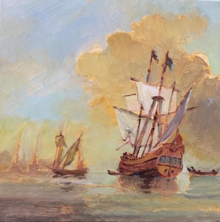 English Warship at Harbor - Image 0