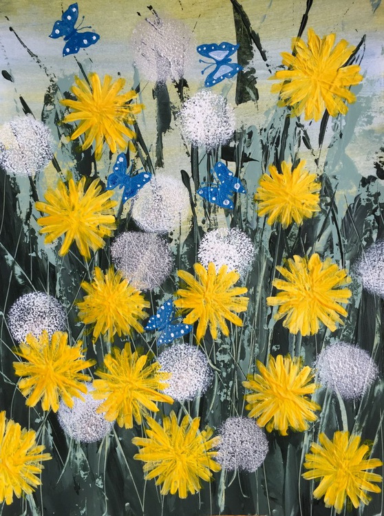 Blue butterflies and dandelions - Image 0