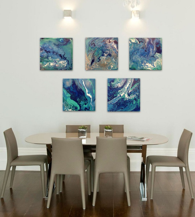 """Getting Lost in the Sea series, 5 abstract small paintings 6x6"""" each - Image 0"""