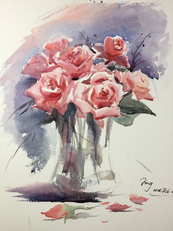 Vase of roses 3 - Image 0