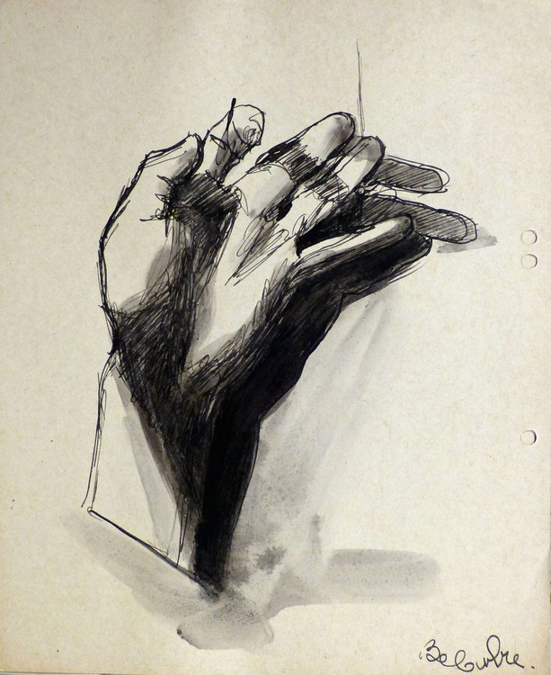 Study Of Hands 1, on divider paper, 22x27 cm - Image 0