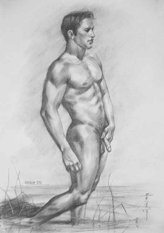 original drawing charcoal male nude  man by the pool on paper #16-2-26-1