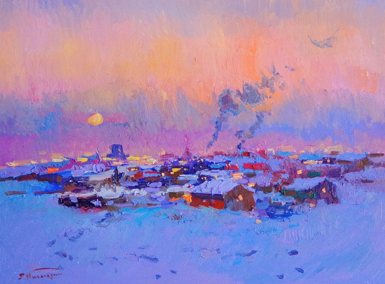 Winter Evening in Northern Town, winter landscape art, impressionism painting - Image 0