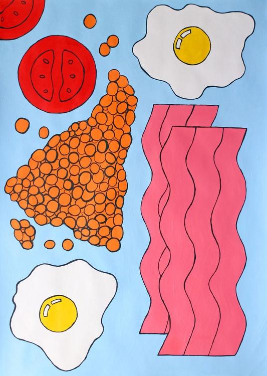 Full English Breakfast Pop Art Painting on Paper NOW UNFRAMED - Image 0