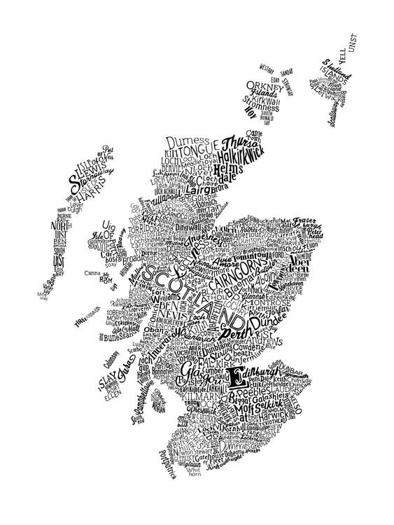 Scotland Type Map (White) - Image 0