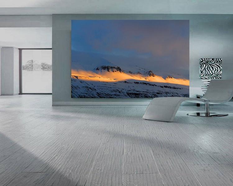 Sunset photography, Minimalist, Winter scene, Landscape photo, Iceland, Fjords, Mountains, Travel, Northern lights, Office decor, Large wall art, Huge Print, ''The Last Daylight'' - Image 0
