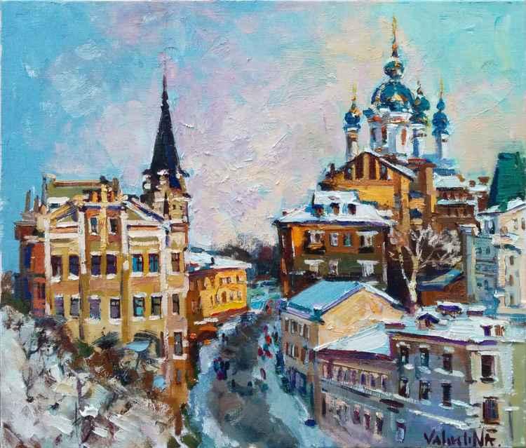 Original oil painting Winter in Kiev, landscape painting -