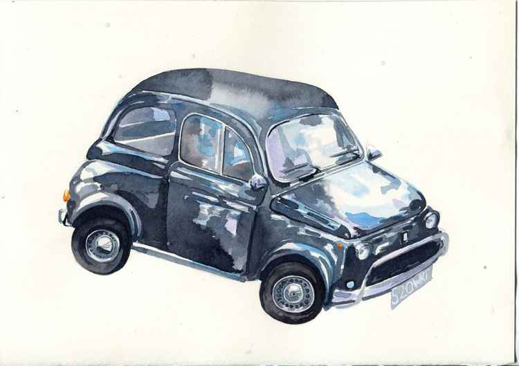 Original Watercolour Painting of Classic Car Fiat 500