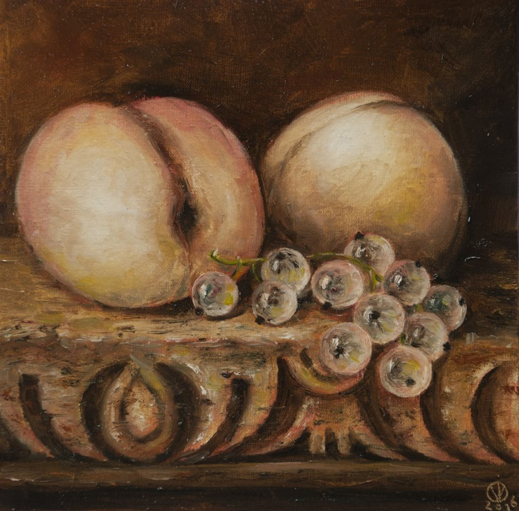 Peaches & Currants (15x15cm) original oil painting still life realistic vintage style small gift kitchen decor - Image 0