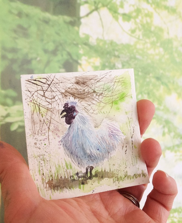 Silkie in the undergrowth - miniature watercolour - Image 0