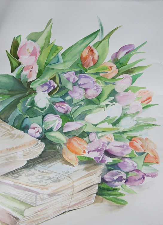 Tulips and books - Image 0
