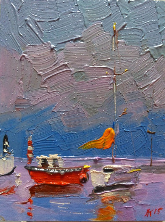 Yacht. original oil painting 15х20 cm - Image 0