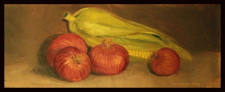 """Still life with corn and onions 17""""x 7"""" - Image 0"""