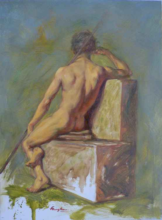 ORIGINAL CLASSICAL OIL PAINTING ART MALE NUDE  MEN ON CANVAS#11-10-07