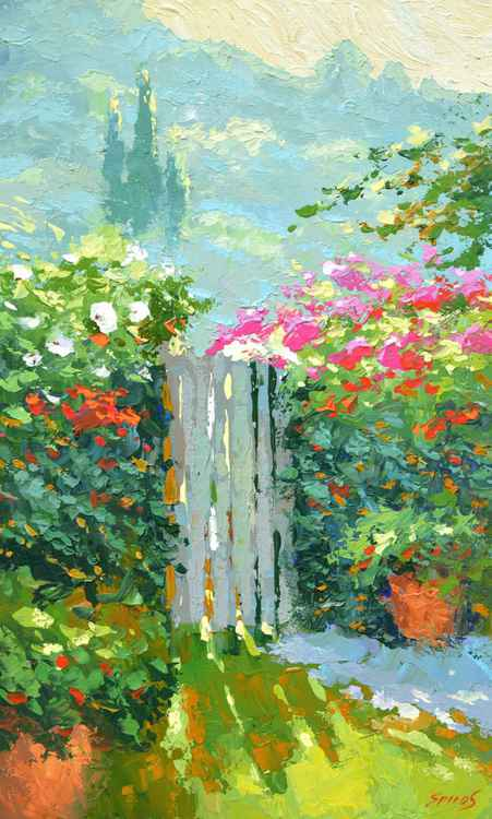 Sunny day At the gate - original painting oil on canvas by Dmitry Spiros, size 32cm x 54cm.