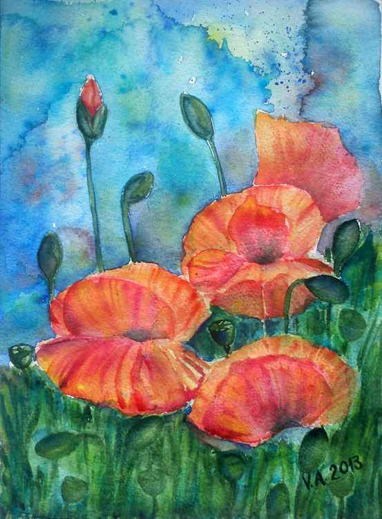 Red poppies garden painting -