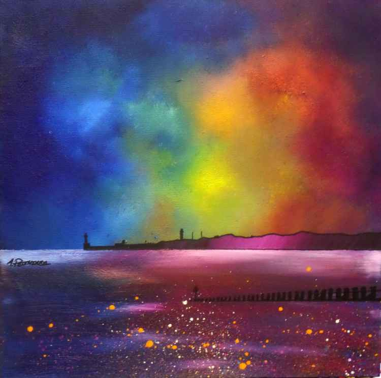 Aberdeen Beach Winter Glow, Scotland - original Scottish landscape oil painting on box canvas -