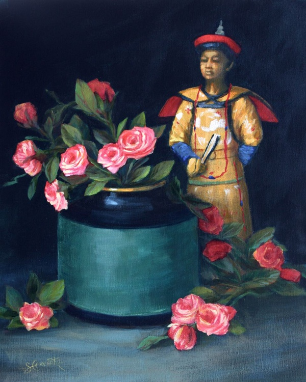 Chinese Figure with Roses - Image 0