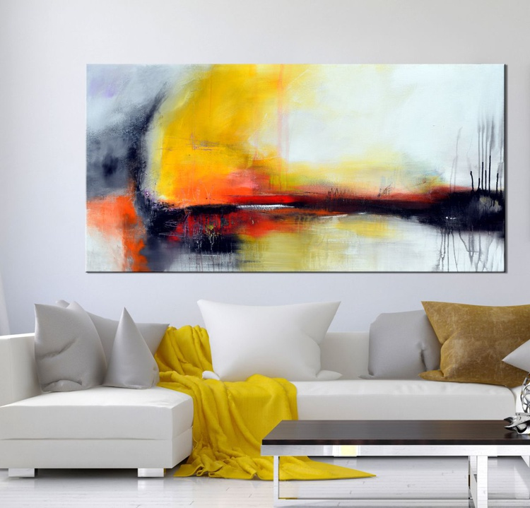 """""""Beyond Myth or Dreams"""" - 48"""" Original Abstract painting, Yellow modern art Large contemporary painting, Canvas wall art, Original Landscape art - Image 0"""