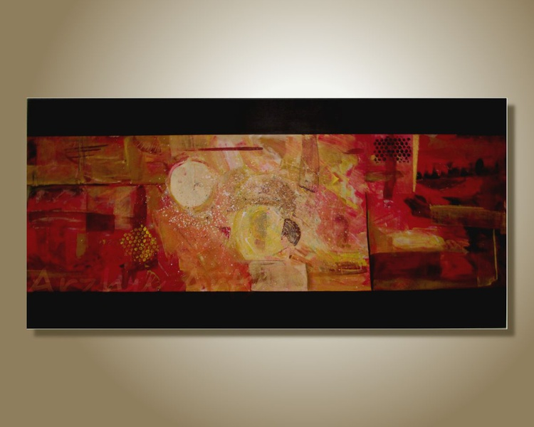 Original Black Yellow Red Abstract Art by Ruchi, Large Modern Acrylic Painting On Canvas, Textured Wall Art - Image 0