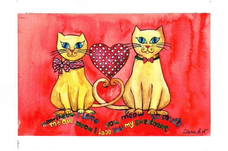 Sweat Love, Love Heart Cats, Original Watercolour Painting, home interior, home decor, Gift Idea -